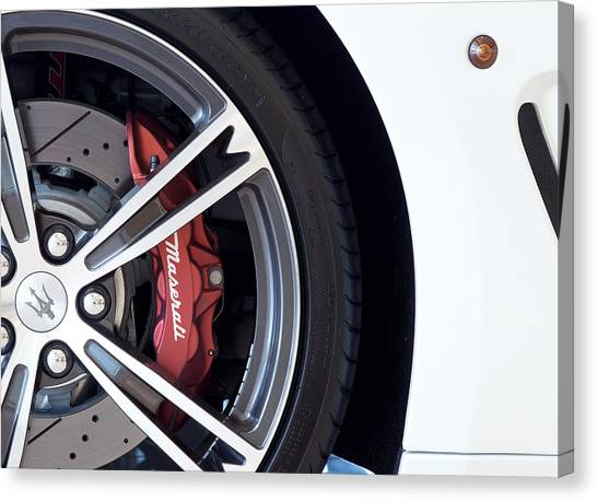 Maserati Wheel White Canvas Print