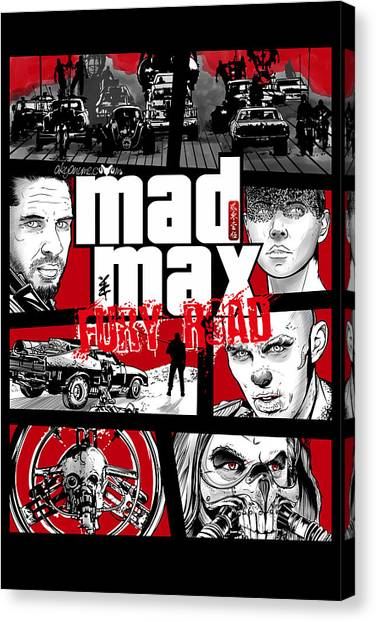 Grand Theft Auto Canvas Print - Mashup Gta Mad Max Fury Road by Akyanyme
