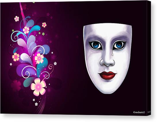 Mask With Blue Eyes Floral Design Canvas Print
