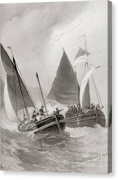 John Boats Canvas Print - Mason And Gallop Attacking The Indians Off Block Island by American School