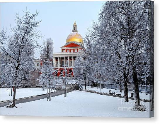 Massachusetts State House In Winter Canvas Print by Denis Tangney Jr
