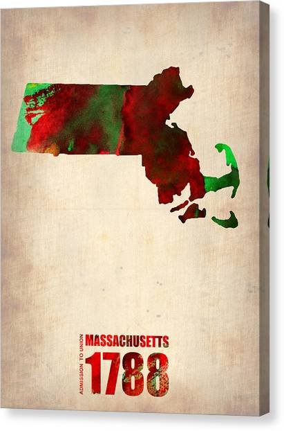 Massachusetts Canvas Print - Massachusetts Watercolor Map by Naxart Studio