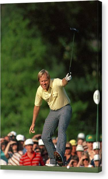 Arnold Palmer Canvas Print - Masters Winning Put 1986 Jack  Nicklaus 1986 by Peter Nowell
