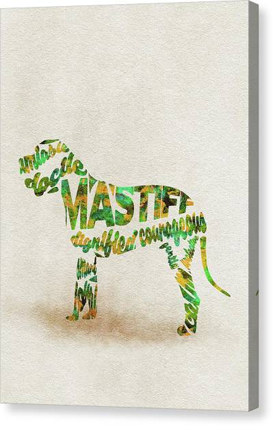 Mastiffs Canvas Print - Mastiff Dog Watercolor Painting / Typographic Art by Inspirowl Design