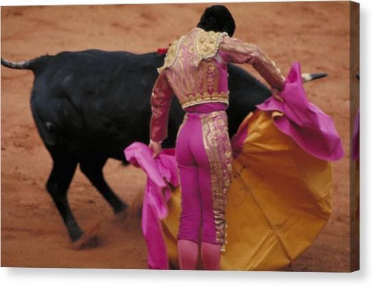 Matador And Bull Canvas Print
