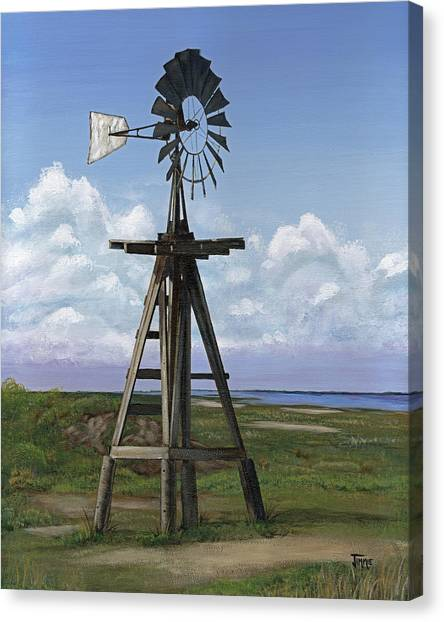 Matagorda Beach Windmill Canvas Print