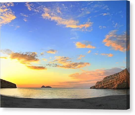 Matala Bay Sunset Canvas Print