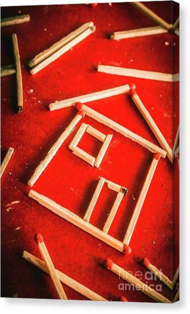 Caution Canvas Print - Matchstick Houses by Jorgo Photography - Wall Art Gallery