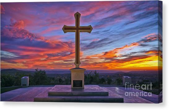 Christian Cross And Amazing Sunset Canvas Print