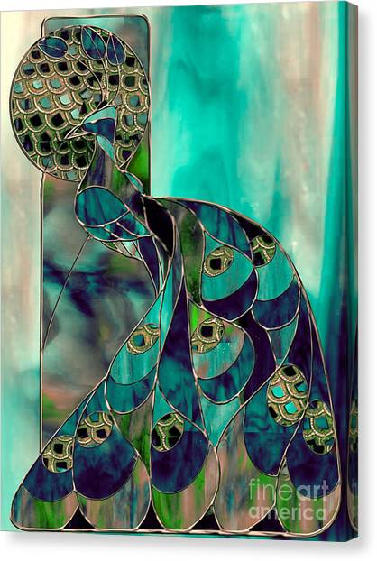 Peacocks Canvas Print - Mating Season Stained Glass Peacock by Mindy Sommers