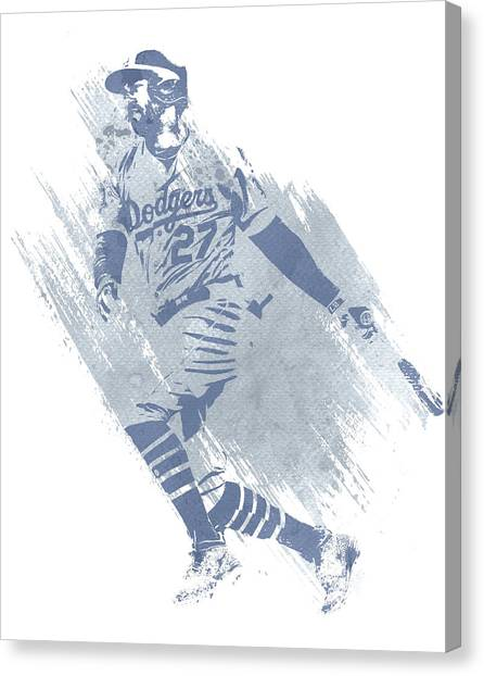 Los Angeles Dodgers Canvas Print - Matt Kemp Los Angeles Dodgers Water Color Art 2 by Joe Hamilton