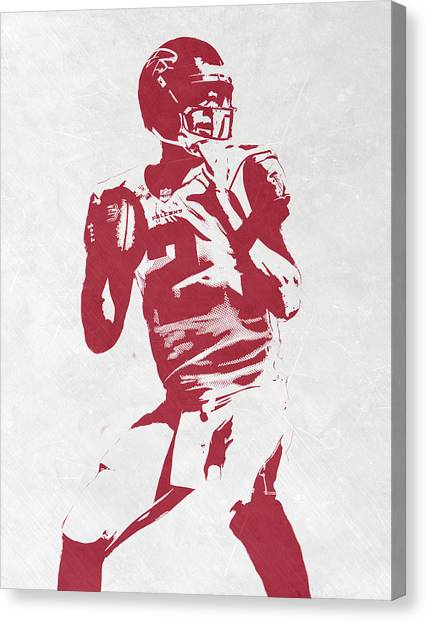 Matt Ryan Canvas Print - Matt Ryan Atlanta Falcons Pixel Art 2 by Joe Hamilton