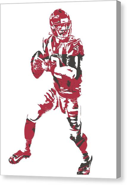 Matt Ryan Canvas Print - Matt Ryan Atlanta Falcons Pixel Art 5 by Joe Hamilton