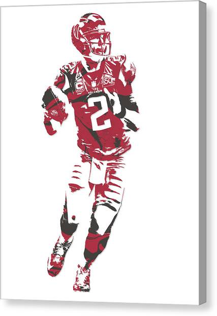 Matt Ryan Canvas Print - Matt Ryan Atlanta Falcons Pixel Art 6 by Joe Hamilton