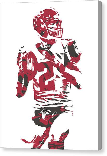 Matt Ryan Canvas Print - Matt Ryan Atlanta Falcons Pixel Art 7 by Joe Hamilton
