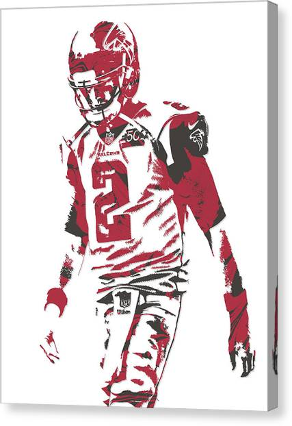 Matt Ryan Canvas Print - Matt Ryan Atlanta Falcons Pixel Art 8 by Joe Hamilton