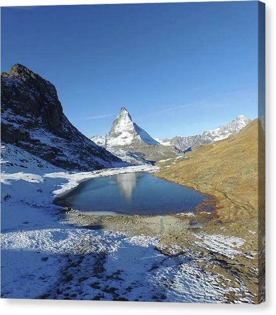 Matterhorn Canvas Print - #matterhorn #mirror #lake #lakeasmirror by Natus Valais