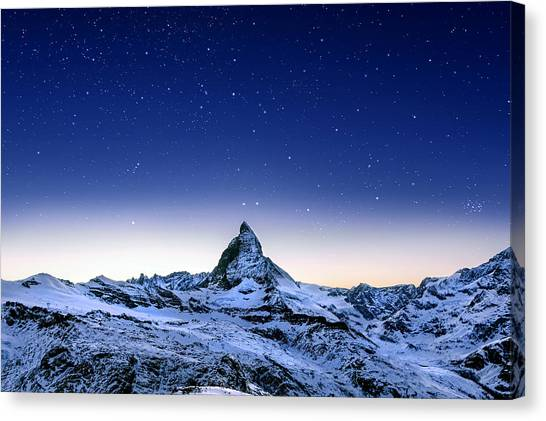 Canvas Print featuring the photograph Matterhorn Night by Nikos Stavrakas