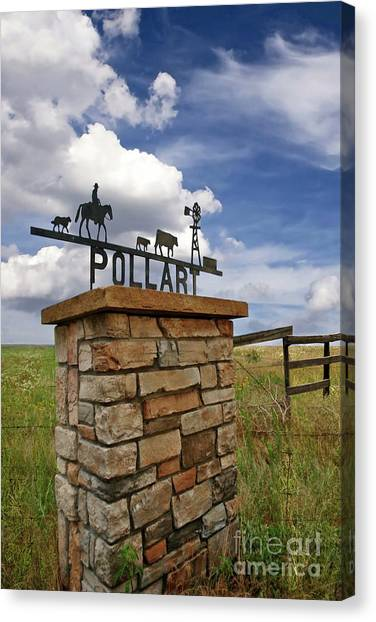 John Elway Canvas Print - Pollart, Entrance Drive Way, Angle Iron Art , Rock And Mortar Sculpture by Thomas Pollart