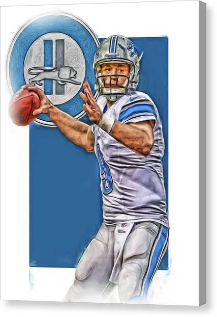 Detroit Lions Canvas Print - Matthew Stafford Detroit Lions Oil Art 2 by Joe Hamilton