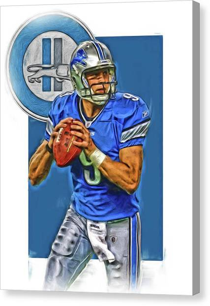 Detroit Lions Canvas Print - Matthew Stafford Detroit Lions Oil Art by Joe Hamilton