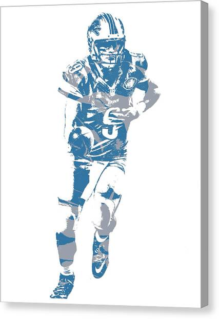 Detroit Lions Canvas Print - Matthew Stafford Detroit Lions Pixel Art 20 by Joe Hamilton