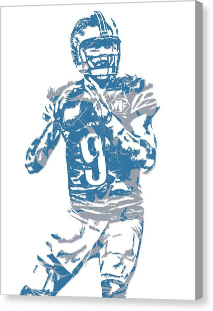 Detroit Lions Canvas Print - Matthew Stafford Detroit Lions Pixel Art 5 by Joe Hamilton