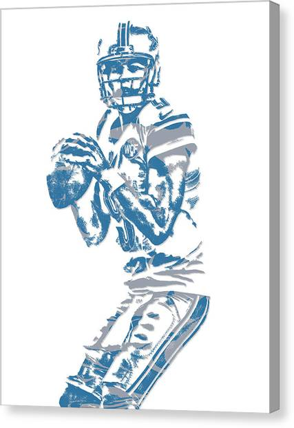 Detroit Lions Canvas Print - Matthew Stafford Detroit Lions Pixel Art 6 by Joe Hamilton