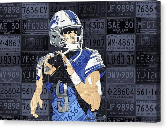 Detroit Lions Canvas Print - Matthew Stafford Detroit Lions Quarterback Recycled Michigan License Plates Art Portrait by Design Turnpike