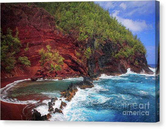 Splashy Canvas Print - Maui Red Sand Beach by Inge Johnsson