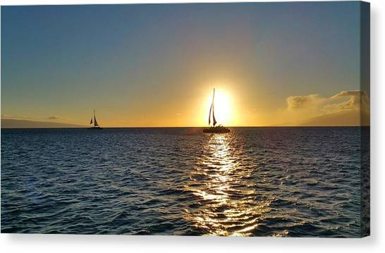 Catamarans Canvas Print - Maui Sailboat Sunset by Stacia Weiss