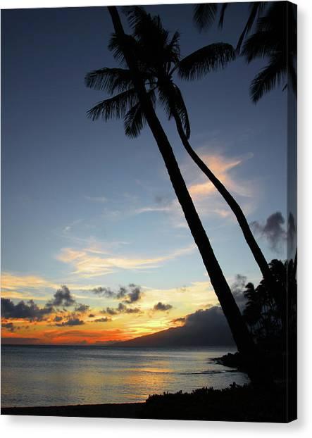 Maui Sunset With Palm Trees Canvas Print