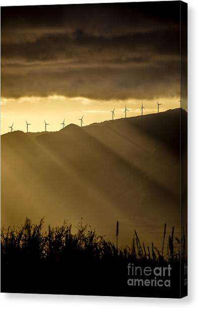 Wind Farms Canvas Print - Maui Wind Farm Sunset by Dustin K Ryan