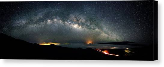 Mauna Loa Canvas Print - Mauna Kea Milky Way Panorama by Christopher Johnson