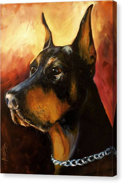 Doberman Pinschers Canvas Print - MAX by Michael Lang