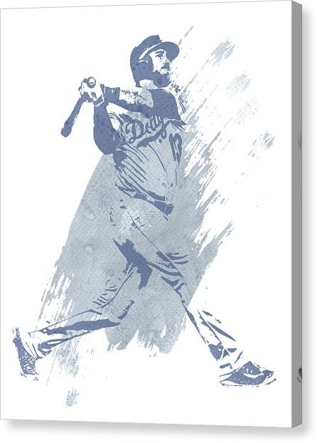 Los Angeles Dodgers Canvas Print - Max Muncy Los Angeles Dodgers Water Color Art 1 by Joe Hamilton