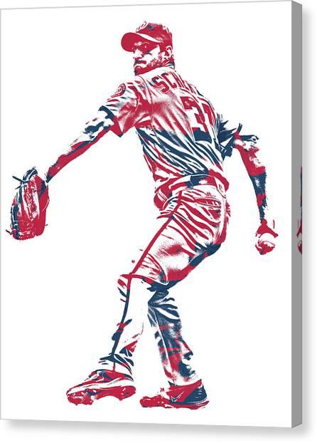 Washington Nationals Canvas Print - Max Scherzer Washington Nationals Pixel Art 10 by Joe Hamilton