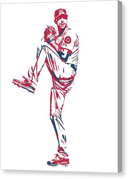 Washington Nationals Canvas Print - Max Scherzer Washington Nationals Pixel Art 11 by Joe Hamilton