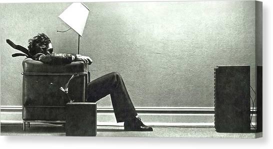 Derek Jeter Canvas Print - Maxell Ad Blown Away Guy by Thomas Pollart