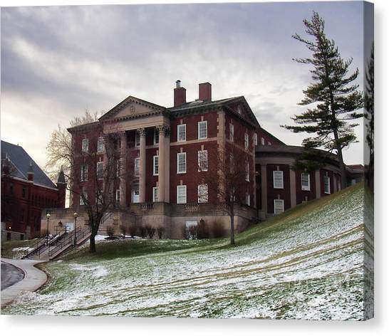 Maxwell Hall In Winter Canvas Print by Debra Millet