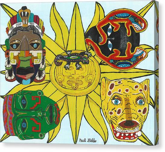 May  Aztec Masks Canvas Print