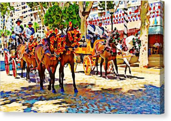 May Day Fair In Sevilla, Spain Canvas Print