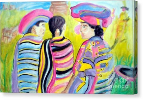 Mayan Indians Canvas Print by Stanley Morganstein