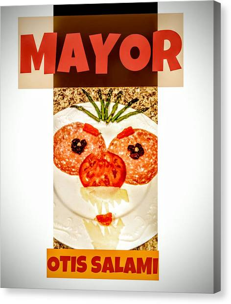 Canvas Print featuring the photograph Mayor Otis Salami T-shirt by Jennifer Hotai