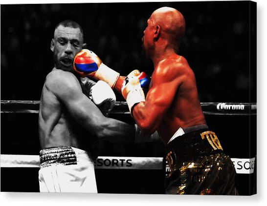 Anthony Martial Canvas Print - Mayweather And Mcgregor 1a by Brian Reaves