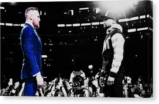 Anthony Martial Canvas Print - Mayweather And Mcgregor 1b by Brian Reaves