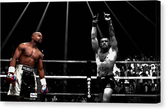 Anthony Martial Canvas Print - Mayweather And Mcgregor 1c by Brian Reaves