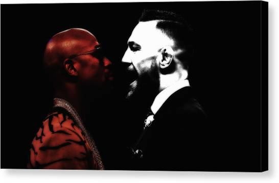 Anthony Martial Canvas Print - Mayweather And Mcgregor 1d by Brian Reaves