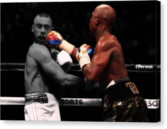 Anthony Martial Canvas Print - Mayweather And Mcgregor In Battle                   by Brian Reaves