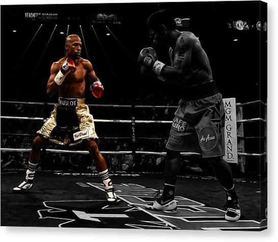 Manny Pacquiao Canvas Print - Mayweather And Pacquiao by Brian Reaves